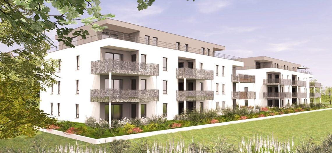Découvrez L'Influence, une résidence qui propose des appartements neufs du F2 au F5 en attique au cœur de Sierentz (68510).