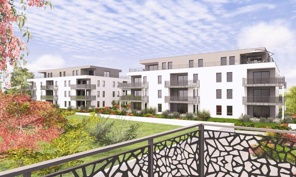 Avec L'Influence à Sierentz (68510), profitez d'appartements neufs du F2 au F5 en attique prolongés de terrasses idéalement orientés avec vue sur les espaces verts.