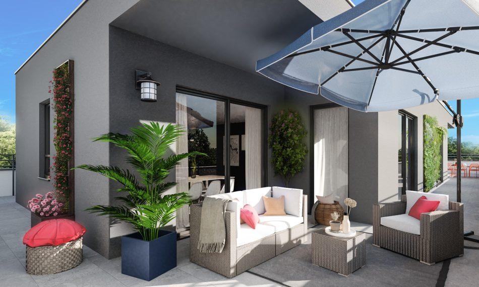 Les appartements neufs de la résidence L'Ondine à Saint-Louis Neuweg (68300) dévoile de vastes terrasses idéalement orientées.