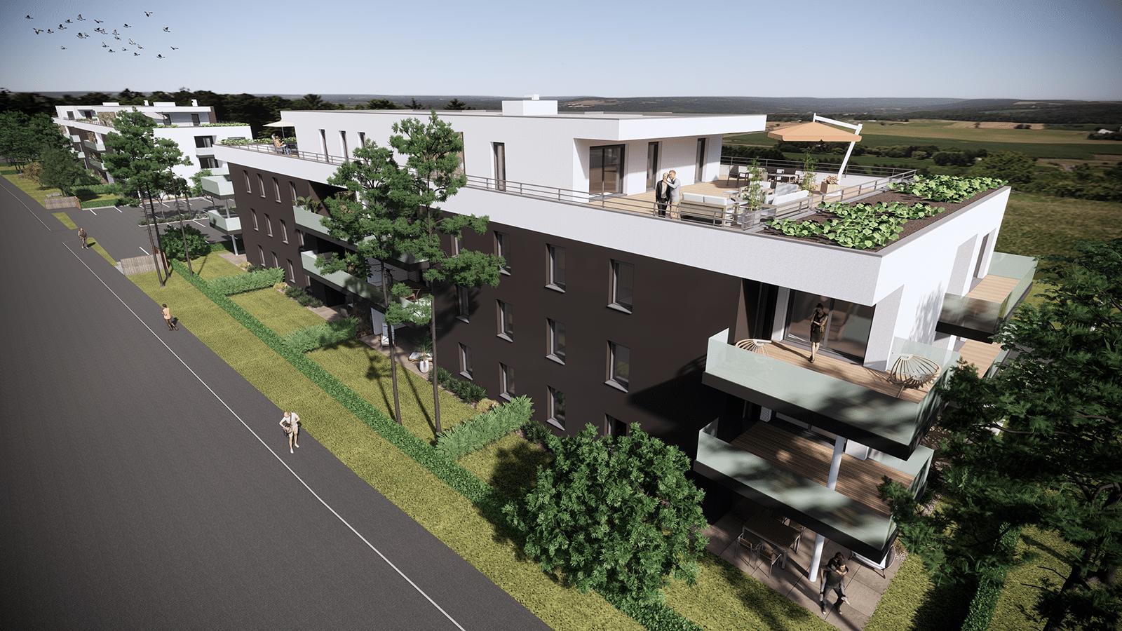 Découvrez L'Escale, une résidence qui propose des appartements neufs du F2 au F5 en attique au cœur de Blotzheim (68730).
