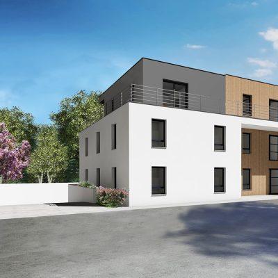 Les Vergers c'est l'investissement idéal au cœur des 3 Frontières : appartements neufs du F2 au F5 en attique dans une résidence intimiste à Bartenheim (68870).